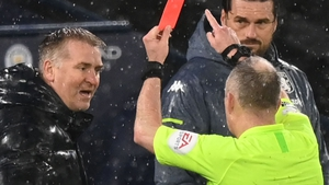 Dean Smith was sent off by referee Jonathan Moss