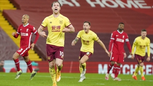 Ashley Barnes celebrates after grabbing the only goal of the game in Anfield