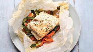 Hugh Fearnley-Whittingstall says you can use almost any type of fish fillet for this easy supper recipe, and vary the veg according to what's in season.