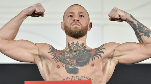 Conor McGregor weighed in at 155 pounds for his match-up with Dustin Poirier