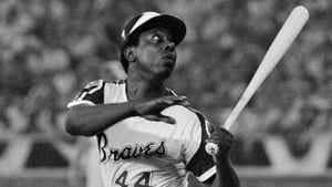 Hank Aaron in action for the Atlanta Braves