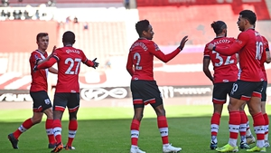 Southampton's players celebrate after Gabriel put through his own net