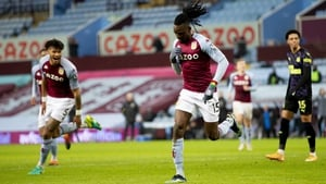 Bertrand Traore celebrates after notching Aston Villa's second goal