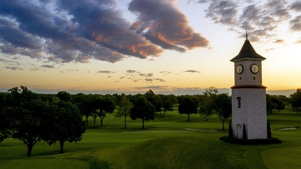 The clocktower at Southern Hills Country Club