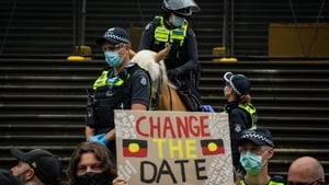 Crowds gathered in Melbourne to protest Australia Day