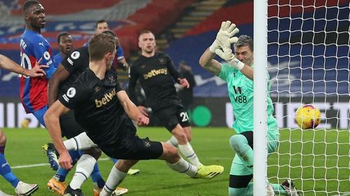 West Ham United's Tomas Soucek scores his team's second goal