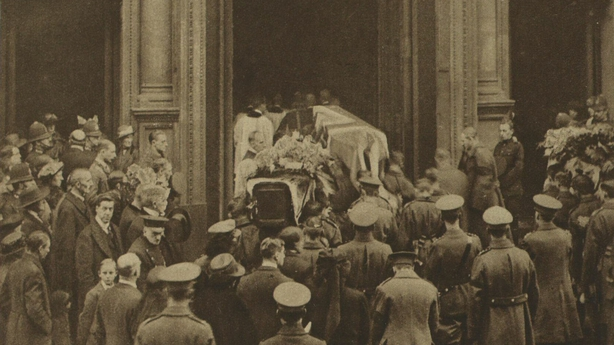 The coffins of some of the catholic victims of 'Bloody Sunday' morning being carried into Westminster Cathedral in London Photo: Illustrated London News [London, England], 4 December 1920