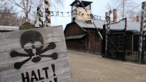 A view of the main gate of Auschwitz