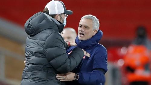 Jurgen Klopp and Jose Mourinho before their teams' meeting at Anfield earlier this season