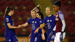 Bethany England of Chelsea celebrates with team-mates
