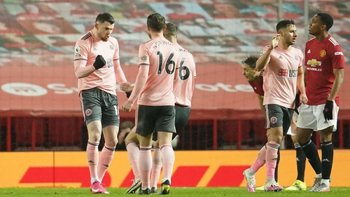 Oliver Burke celebrates that priceless second goal for the Blades