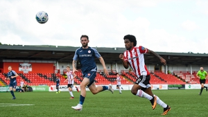 Figueira in action for Derry against Sligo Rovers following the resumption of the league in 2020