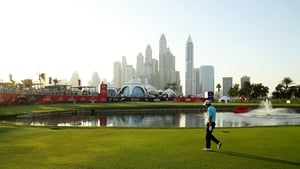 Padraig Harrington approaches the 18th green in Dubai