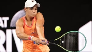 Ashleigh Barty was beaten by Simona Halep in an exhibition game in Adelaide