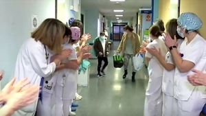 Medical personnel at the Mancha Centro hospital in Ciudad Real cheered when Mateo Roman was allowed to go home