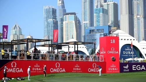 Shane Lowry finishing off his third round in Dubai
