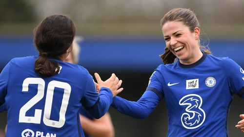 Melanie Leupolz (r) hit two for Chelsea today