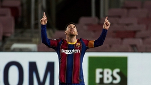 Lionel Messi celebrates after giving Barcelona the lead