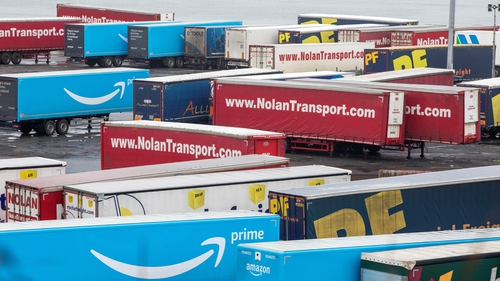 Freight trucks at Rosslare Harbour, Co Wexford. Photo:Paul Faith/AFPvia Getty Images