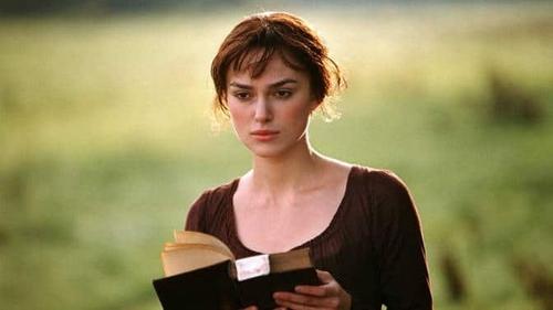 "Keira Knightley as Elizabeth Bennet in 2005's Pride and Prejudice: ""strolling through sunlit fields dressed as folklore-era Taylor Swift"""