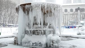 The Josephine Shaw Lowell Memorial Fountain is completely frozen over in Bryant Park, NYC