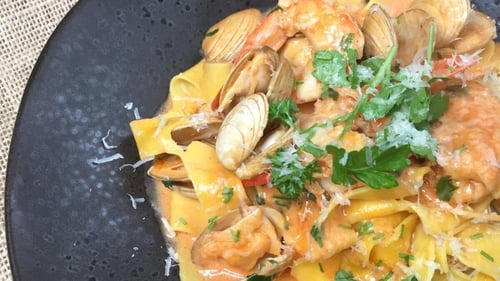 Jeeny Maltese's prawns & clams creamy pappardelle