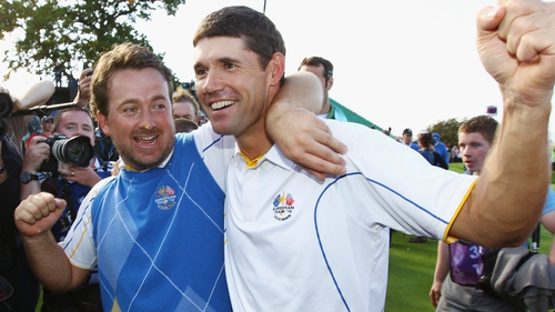 Graeme McDowell (L) with Padraig Harrington at Celtic Manor back in 2010