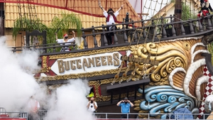 The pirate ship of the Tampa Bay Buccaneers celebrates a score with cannon fire