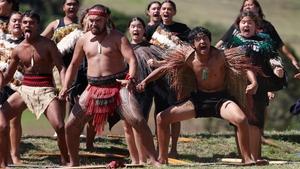 A group performs a haka during the commemorations at Ruapekapeka Pa