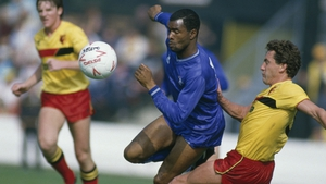 Paul Canoville (C) in action for Chelsea in 1985