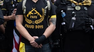 Proud Boys march in support of then-president Donald Trump in Washington, DC in December 2020