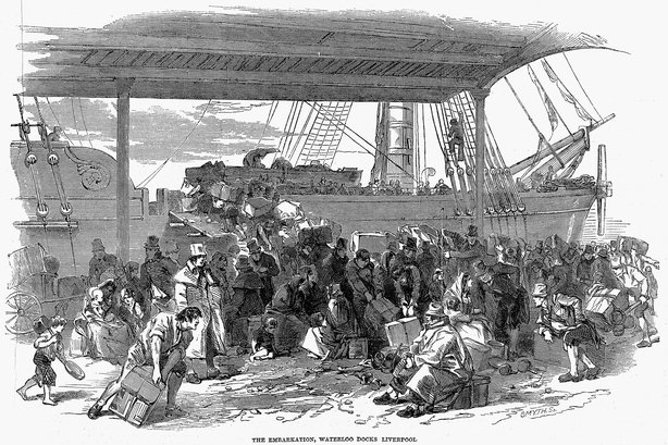 19th century picture of irish emigrants leaving for America