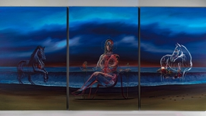Artist Vincent Devine brought Vicky Phelan to Doonbeg to help compose the portrait