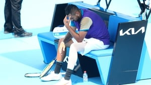 Nick Kyrgios struggled with knee issues during his match against Borna Coric