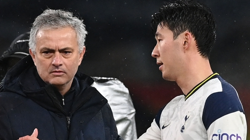 Mourinho (L) and Son Heung-Min (R) after defeat to Chelsea