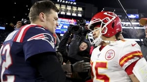 Tom Brady and Patrick Mahomes exchange words back when the former played for the New England Patriots