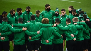 The Ireland team huddle before the Autumn Nations Cup win over Georgia