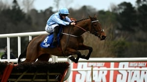 Rachael Blackmore and Honeysuckle clear the final flight at Leopardstown