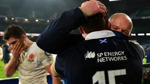 Gregor Townsend, Head Coach of Scotland celebrates with Stuart Hogg