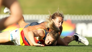 Ailish Considine after being tackled by Tarni Evans of the Giants