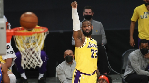 LeBron James sinks a jump shot as the Lost Angeles Lakers eventually got past the Oklahoma City Thunder