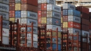 Stacked containers on a container ship as it is moored at the Eurogate terminal in Hamburg port in Germany