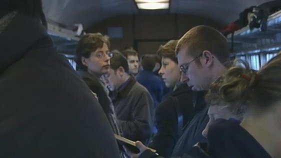 Commuters on Maynooth-Dublin Connolly train (2001)