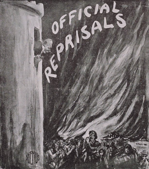 Black and white illustration on sheet depicts Hamar Greenwood looking down at the populace from a tower [symbolising Dublin Castle]; the people gathered below appear hungry, cold and ill. the are depicted fleeing from a ball of flame in the background. Caption reads: 'I believe I am the only man in Ireland who enjoys perfect health, no anxiety, and a complete optimism.' - Sir Hamar Greenwood. Part of the Shemus Cartoon Collection. Photo: National Library of Ireland, PD 4309 TX 56