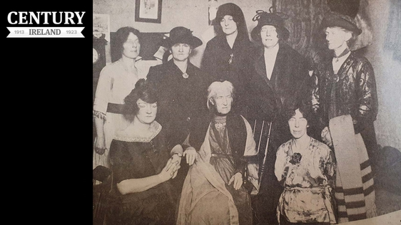 Charlotte Despard (centre) with some of the members of the Irish Women's Franchise League. The women in this photo are - Left to right sitting: Grace Gifford Plunkett, Charlotte Despard, Cissie Cahalan. Left to right standing: Meg Connery, Lillie Connolly