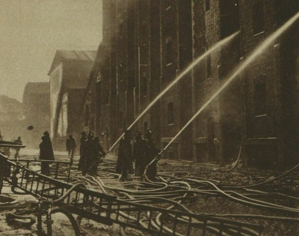 Firemen trying to put out a fire in Liverpool in December 1920. As in Lancashire, Irish republicans were thought to have been responsible for the blaze Photo: Illustrated London News, 4 December 1920