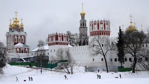 People ski on the pond of the Novodevichy Convent in Moscow