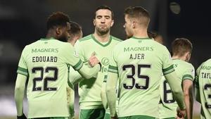 Celtic's Odsonne Edouard celebrates with Shane Duffy