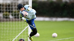 Kepa makes a save in training on Wednesday