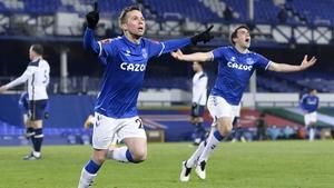 Bernard of Everton (L) celebrates his winning goal with Seamus Coleman